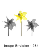 #584 Picture of a Yellow Pinwheel With Black and White Ones by Jamie Voetsch