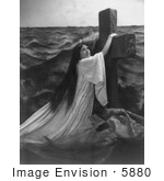 #5880 Woman Holding On To A Cross