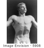 #5908 Sandow Wearing Only a Fig Leaf by JVPD