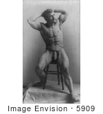 #5909 Eugen Sandow Sitting On A Stool