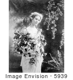 #5939 Woman Holding Flowers