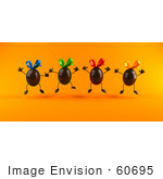 #60695 Royalty-Free (Rf) Illustration Of 3d Chocolate Easter Egg Characters Jumping - Version 1 by Julos
