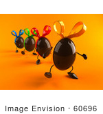 #60696 Royalty-Free (Rf) Illustration Of 3d Chocolate Easter Egg Characters Marching Forward - Version 1 by Julos