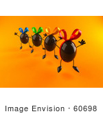 #60698 Royalty-Free (Rf) Illustration Of 3d Chocolate Easter Egg Characters Jumping - Version 2 by Julos