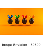 #60699 Royalty-Free (Rf) Illustration Of A Row Of 3d Floating Chocolate Easter Eggs With Colorful Bows - Version 2 by Julos