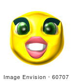 #60707 Royalty-Free (Rf) Illustration Of A 3d Female Smiley Face Grinning