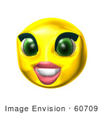 #60709 Royalty-Free (Rf) Illustration Of A 3d Female Smiley Face Smiling by Julos