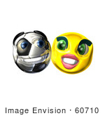 #60710 Royalty-Free (Rf) Illustration Of A Confident 3d Soccer Ball Smiley Face Emoticon With A Female by Julos