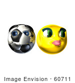 #60711 Royalty-Free (Rf) Illustration Of A Shy 3d Soccer Ball Smiley Face Emoticon With A Female