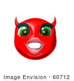 #60712 Royalty-Free (Rf) Illustration Of A 3d Red She Devil Smiley Face Grinning