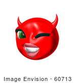 #60713 Royalty-Free (Rf) Illustration Of A 3d Red She Devil Smiley Face Winking