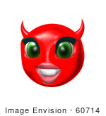 #60714 Royalty-Free (Rf) Illustration Of A 3d Red She Devil Smiley Face Smiling