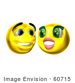#60715 Royalty-Free (Rf) Illustration Of Two 3d Smiley Faces Smiling