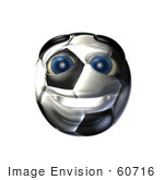 #60716 Royalty-Free (Rf) Illustration Of A 3d Soccer Ball Smiley Face by Julos