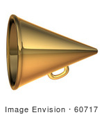#60717 Royalty-Free (Rf) Illustration Of A 3d Gold Megaphone - Version 2