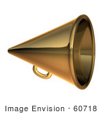 #60718 Royalty-Free (Rf) Illustration Of A 3d Gold Megaphone - Version 1