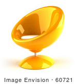 #60721 Royalty-Free (RF) Illustration Of A 3d Orange Bubble Chair Facing Left by Julos