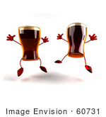 #60731 Royalty-Free (Rf) Illustration Of Two 3d Beer Mascots Leaping - Version 1