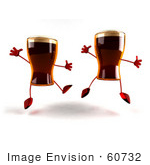 #60732 Royalty-Free (Rf) Illustration Of Two 3d Beer Mascots Leaping - Version 2