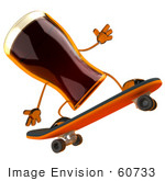 #60733 Royalty-Free (Rf) Illustration Of A 3d Beer Mascot Skateboarding - Version 2