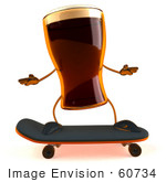 #60734 Royalty-Free (Rf) Illustration Of A 3d Beer Mascot Skateboarding - Version 1