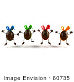 #60735 Royalty-Free (RF) Illustration Of 3d Chocolate Easter Egg Characters Jumping - Version 3 by Julos