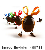 #60738 Royalty-Free (RF) Illustration Of 3d Chocolate Easter Egg Characters Marching Forward - Version 3 by Julos