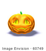 #60749 Royalty-Free (Rf) Illustration Of A Smiling 3d Halloween Pumpkin - Version 3