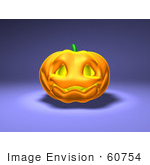 #60754 Royalty-Free (RF) Illustration of a Smiling 3d Halloween Pumpkin - Version 1 by Julos