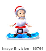 #60764 Royalty-Free (Rf) Illustration Of A 3d Santa Claus Snowboarding - Version 6