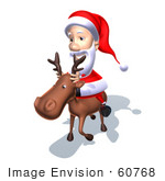 #60768 Royalty-Free (Rf) Illustration Of A 3d Santa Claus Riding A Reindeer - Version 6