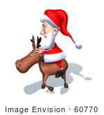 #60770 Royalty-Free (Rf) Illustration Of A 3d Santa Claus Riding A Reindeer - Version 7