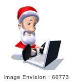 #60773 Royalty-Free (Rf) Illustration Of A 3d Santa Claus Using A Laptop - Version 4