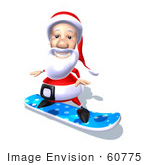 #60775 Royalty-Free (Rf) Illustration Of A 3d Santa Claus Snowboarding - Version 5