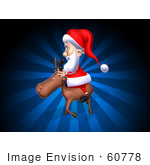 #60778 Royalty-Free (Rf) Illustration Of A 3d Santa Riding A Reindeer - Version 3