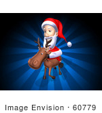 #60779 Royalty-Free (Rf) Illustration Of A 3d Santa Riding A Reindeer - Version 2
