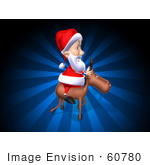 #60780 Royalty-Free (Rf) Illustration Of A 3d Santa Riding A Reindeer - Version 4