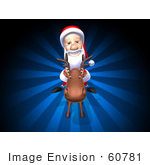#60781 Royalty-Free (Rf) Illustration Of A 3d Santa Riding A Reindeer - Version 1