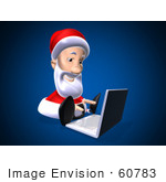 #60783 Royalty-Free (Rf) Illustration Of A 3d Santa Using A Laptop - Version 8