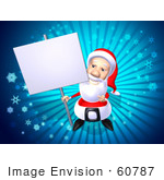 #60787 Royalty-Free (Rf) Illustration Of A 3d Santa Holding Up A Blank Sign On A Post - Version 1