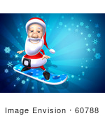 #60788 Royalty-Free (Rf) Illustration Of A 3d Santa Snowboarding - Version 2