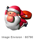 #60790 Royalty-Free (Rf) Illustration Of A 3d Clay Styled Santa Claus Flying - Version 2