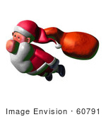 #60791 Royalty-Free (Rf) Illustration Of A 3d Clay Styled Santa Claus Flying - Version 3