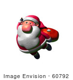 #60792 Royalty-Free (Rf) Illustration Of A 3d Clay Styled Santa Claus Flying - Version 1