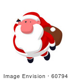 #60794 Royalty-Free (Rf) Illustration Of A Cartoon Styled Santa Claus Flying - Version 1