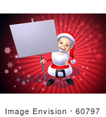 #60797 Royalty-Free (Rf) Illustration Of A 3d Santa Holding Up A Blank Sign On A Post - Version 3