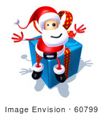 #60799 Royalty-Free (Rf) Illustration Of A 3d Santa Claus Sitting On A Blue Present - Version 3