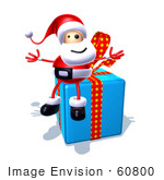 #60800 Royalty-Free (Rf) Illustration Of A 3d Santa Claus Sitting On A Blue Present - Version 4