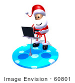 #60801 Royalty-Free (Rf) Illustration Of A 3d Santa Claus Using A Laptop - Version 6