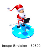 #60802 Royalty-Free (Rf) Illustration Of A 3d Santa Claus Using A Laptop - Version 7